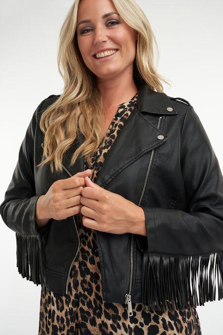 Manteau en simili-cuir avec des volants