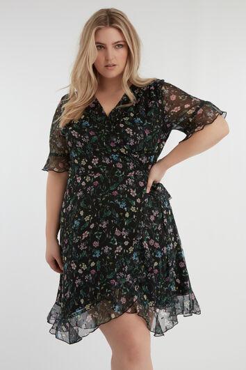 Robe portefeuille à imprimé floral et lurex