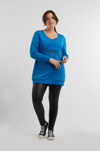 Long sweat-shirt avec motif en relief