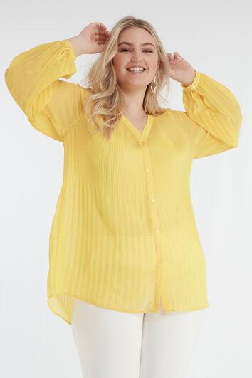 Chemisier jaune plissé