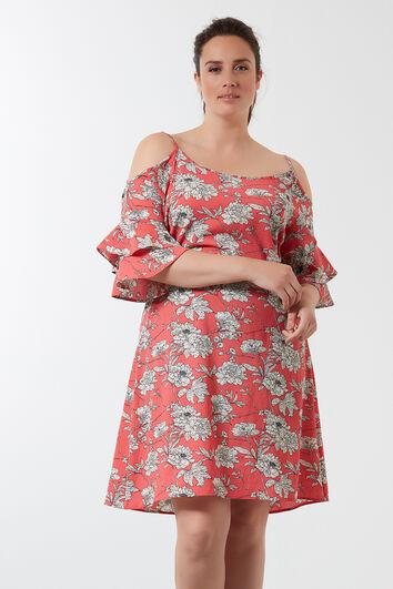 Robe avec épaules ajourées et imprimé intégral