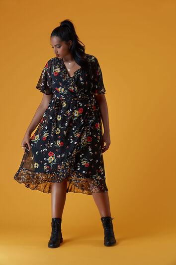 Robe cache-cœur à imprimé floral