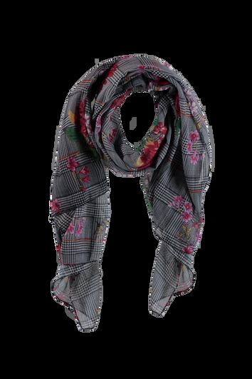 Foulard à imprimé floral et carreaux