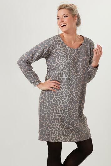 Robe pull avec imprimé léopard