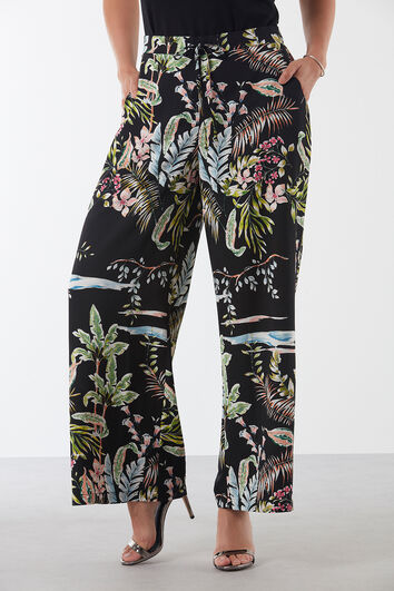 Pantalon fleuri à coupe ample