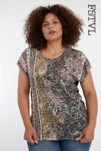 T-shirt à imprimé bohème