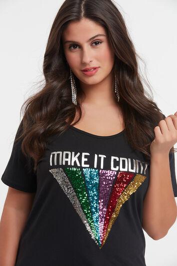 T-shirt avec imprimé arc-en-ciel