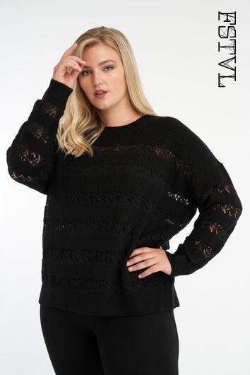 Sweater à manches ajourées