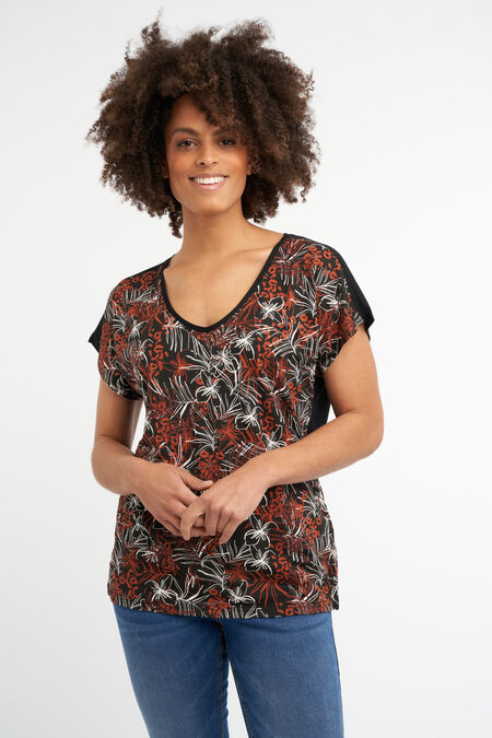 T-shirt avec imprimé botanique métallisé