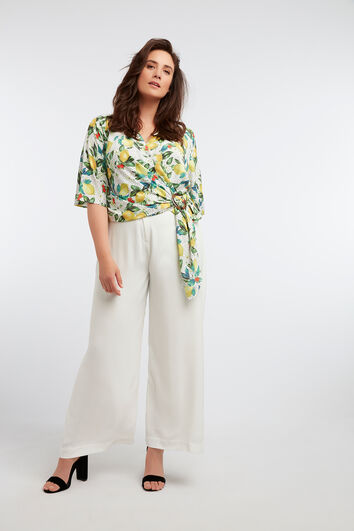 Pantalon large effet lin