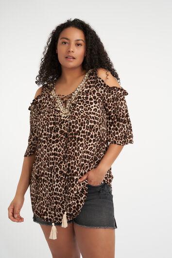 Chemisier à épaules ajourées avec imprimé léopard