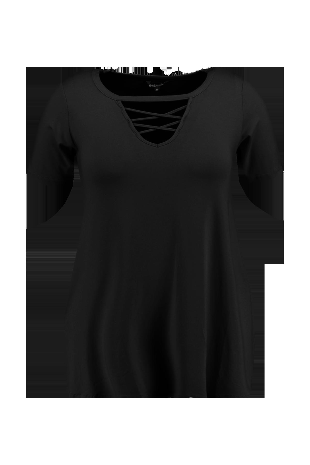 1c7ba0a84e361 Noir T-shirt avec fente en V et bretelles croisées à MS Mode®